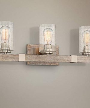 Poetry Rustic Farmhouse Wall Light Gray Wood Grain Brushed Nickel Hardwired 23 12 Wide 3 Light Fixture Clear Seedy Glass For Bathroom Vanity Mirror Franklin Iron Works 0 300x360