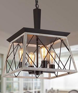 QS Farmhouse Vintage Chandelier Rustic Pendant LightIndustrial Hanging Light Fixture For Dining Room Kitchen IslandWrought Iron ORBOak White 4 Lights E26 0 300x360