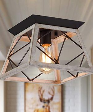 QS Rustic Farmhouse Ceiling Light Fixture Flush MountVintage Ceiling LightsWhite Ceiling Lights For Hallway Entryway Kitchen Dining Room BedroomWrought Iron Oak White And ORB Finish1 Light E26 0 300x360