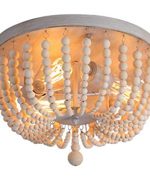 QS Wood Beaded ChandelierBoho Farmhouse Light FixtureOak White3 LightsSemi Flush Mount Ceiling Light Fixtures For Hallway Babys Nursery Bedroom Kitchen Living Room 0 300x360