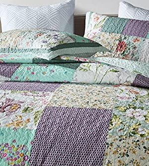 Qucover Patchwork Quilt Sets Queen 3 Pieces Cotton Quilted Bedspread Comforter Bedding Sets For Queen Bed 0 0 300x333