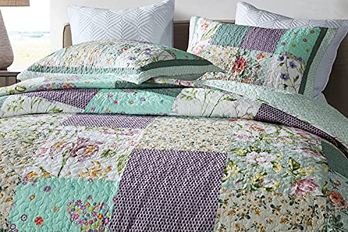 Qucover Patchwork Quilt Sets Queen 3 Pieces Cotton Quilted Bedspread Comforter Bedding Sets For Queen Bed 0 0