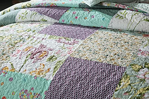 Qucover Patchwork Quilt Sets Queen 3 Pieces Cotton Quilted Bedspread Comforter Bedding Sets For Queen Bed 0 1