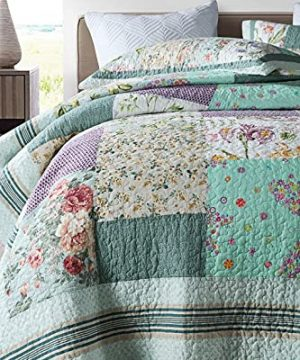 Qucover Patchwork Quilt Sets Queen 3 Pieces Cotton Quilted Bedspread Comforter Bedding Sets For Queen Bed 0 2 300x360