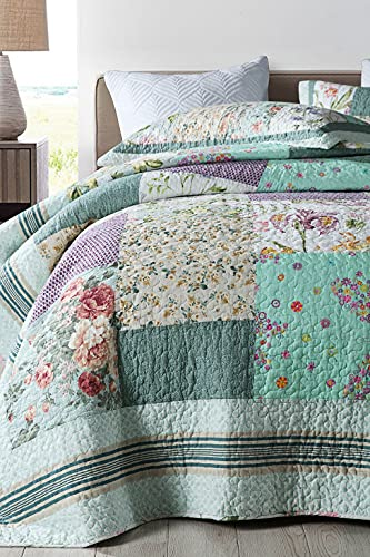 Qucover Patchwork Quilt Sets Queen 3 Pieces Cotton Quilted Bedspread Comforter Bedding Sets For Queen Bed 0 2
