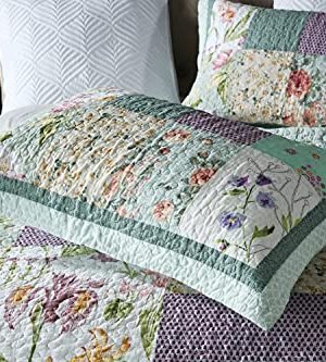 Qucover Patchwork Quilt Sets Queen 3 Pieces Cotton Quilted Bedspread Comforter Bedding Sets For Queen Bed 0 3 300x333