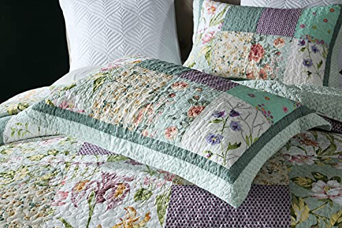 Qucover Patchwork Quilt Sets Queen 3 Pieces Cotton Quilted Bedspread Comforter Bedding Sets For Queen Bed 0 3