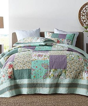 Qucover Patchwork Quilt Sets Queen 3 Pieces Cotton Quilted Bedspread Comforter Bedding Sets For Queen Bed 0 300x360