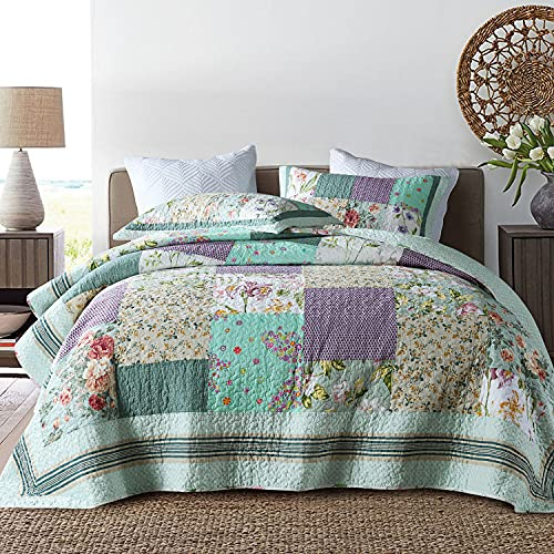 Qucover Patchwork Quilt Sets Queen 3 Pieces Cotton Quilted Bedspread Comforter Bedding Sets For Queen Bed 0