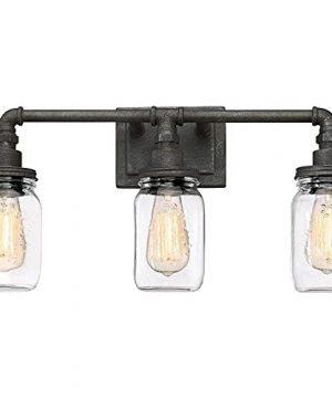 Quoizel SQR8603RK Squire Industrial Rustic Vanity Wall Lighting 3 Light 300 Watts Rustic Black 11H X 22W 0 300x360