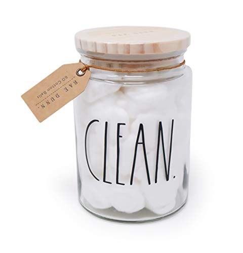 Rae Dunn By Magenta CLEAN Cotton Balls Glass LL Bathroom Vanity Organizer Apothecary Jar With 60 Cotton Balls 2020 Limited Edition 55 Tall 0