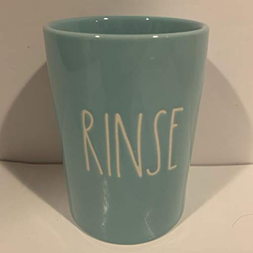 Rae Dunn RINSE Holder Bathroom Makeup Desk Organizer Allside Turquoise Ceramic 4 Inches Tall 3 Inches Diameter 0 0