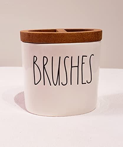 Rae Dunn By Magenta Ceramic Vanity Brush Holder For Make Up Or Tooth Brushes 0