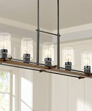 Ranger Dust Bronze Linear Pendant Chandelier Lighting 36 34 Wide Rustic Farmhouse Clear Glass Cylinders 5 Light Fixture For Kitchen Island Dining Room House High Ceilings Franklin Iron Works 0 300x360