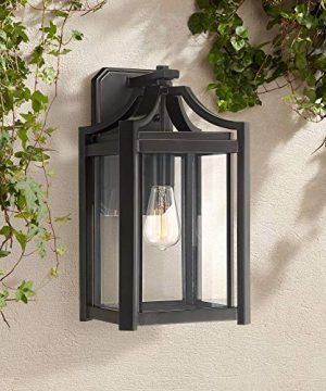 Rockford Rustic Farmhouse Outdoor Wall Light Fixture Black 16 14 Clear Beveled Glass For Exterior House Porch Patio Deck Franklin Iron Works 0 300x360
