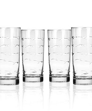 Rolf Glass School Of Fish Highball Glass 15 Ounce Set Of 4 Cooler Glasses Lead Free Glass Etched Drinking Glass With Heavy Base Proudly Made In The USA 0 300x360