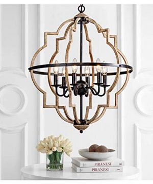 Rustic ChandelierClassy Farmhouse Pendant LightVintage Iron 6 Light Orb Chandeliers Stardust Oak Finished Pendant LightingCeiling Hanging Light Fixtures For Dining RoomBedroomLiving RoomFoyer 0 300x360