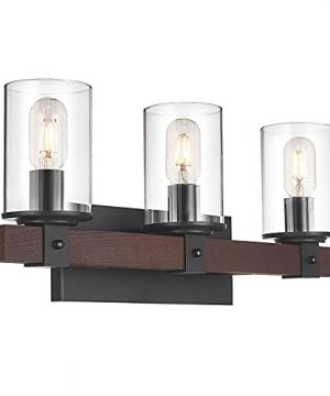 Rustic Vanity Light3 Light Industrial Wood Finish Farmhouse Bathroom LightingClear Glass And Black Metal Base Wall Sconce Lighting Fixtures 0 300x360