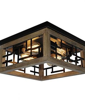 Rviezza 4 Lights Farmhouse Flush Mount Ceiling Light Rustic Wood Ceiling Light Black Metal Close To Ceiling Lighting Fixture Industrial Ceiling Lamp For Living Room Bedroom Kitchen Entryway 0 300x360