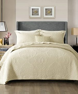 STACYPIK 100 Cotton Quilt Bedding Set 3 Piece Queen Size Rustic Farmhouse Embroidered Floral Coverlet Bedspreds For All Season Bohemian Light Weight Washable Summer Quilts Quilt CoverPaisley Cream 0 300x360