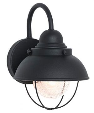 Sea Gull Lighting 8870 12 Sebring One Light Outdoor Wall Lantern With Clear Seeded Glass Diffuser Black Finish 0 300x360