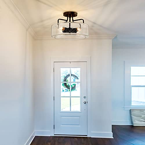 Semi Flush Mount Ceiling Light 4 Lights Farmhouse Flush Mount Ceiling Light Fixture With Drum Seeded Glass Shade For Hallway Bedroom Kitchen Foyer And Bathroom Oil Rubbed Bronze 0 1
