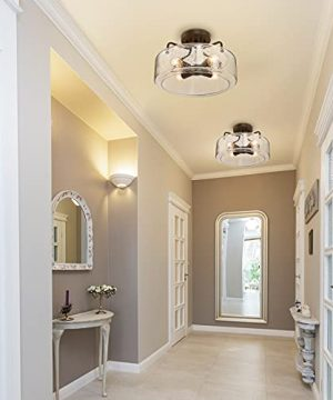 Semi Flush Mount Ceiling Light 4 Lights Farmhouse Flush Mount Ceiling Light Fixture With Drum Seeded Glass Shade For Hallway Bedroom Kitchen Foyer And Bathroom Oil Rubbed Bronze 0 2 300x360
