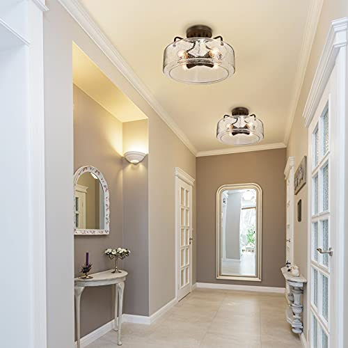 Semi Flush Mount Ceiling Light 4 Lights Farmhouse Flush Mount Ceiling Light Fixture With Drum Seeded Glass Shade For Hallway Bedroom Kitchen Foyer And Bathroom Oil Rubbed Bronze 0 2