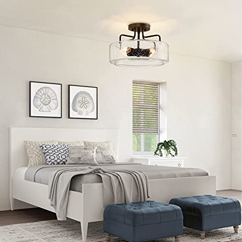 Semi Flush Mount Ceiling Light 4 Lights Farmhouse Flush Mount Ceiling Light Fixture With Drum Seeded Glass Shade For Hallway Bedroom Kitchen Foyer And Bathroom Oil Rubbed Bronze 0 3