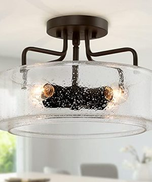 Semi Flush Mount Ceiling Light 4 Lights Farmhouse Flush Mount Ceiling Light Fixture With Drum Seeded Glass Shade For Hallway Bedroom Kitchen Foyer And Bathroom Oil Rubbed Bronze 0 300x360