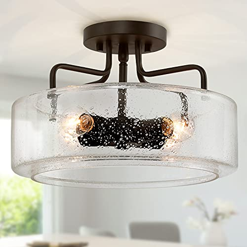 Semi Flush Mount Ceiling Light 4 Lights Farmhouse Flush Mount Ceiling Light Fixture With Drum Seeded Glass Shade For Hallway Bedroom Kitchen Foyer And Bathroom Oil Rubbed Bronze 0