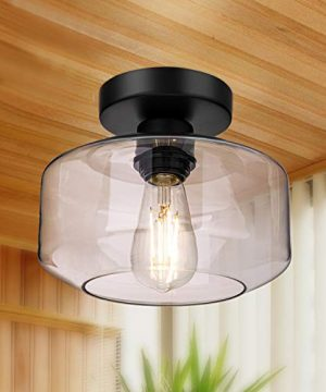 Semi Flush Mount Ceiling Light 750 Lumen LED Bulb Included Ceiling Light Fixture Farmhouse Light Fixture With Clear Glass Lamp Shade For Bedroom Hallway Dining Room Bathroom Corridor Passway 0 300x360