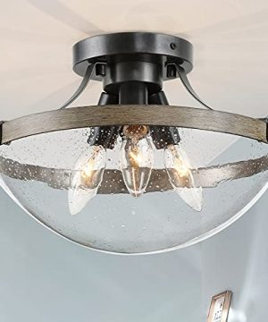 Semi Flush Mount Ceiling Light Farmhouse Light Fixture Ceiling In Wooden And Rustic Black Metal Finish Vintage Ceiling With Seeded Glass Shades For Foyer Hallway Kitchen 115 Inch 0 300x360