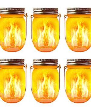 Solar Flame Torch Lights 6 Pack Waterproof Dancing Flicker Flame Lights Build In Glass Mason Jar Outdoor Patio Yard Desktop Party Xmas Decor Solar Lanterns 0 300x360