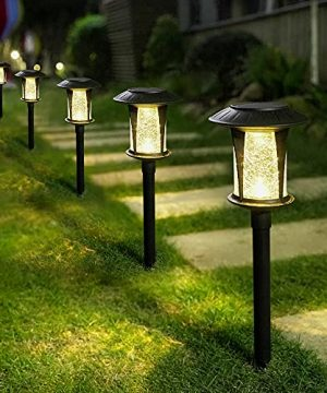 Solar Lights Outdoor Garden 6 Packs LED Solar Pathway Light Ground Landscape Lighting For Lawn Patio Yard Pathway Walkway Driveway Sideway GrasslandWarm White Glass 0 300x360