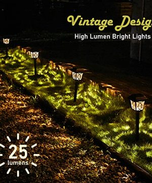 Solar Path Lights 6 Pack Solar Pathway Lights Solar Powered Reddish Brown Glass Lampshade Stainless Steel Auto On Off 25 Lumens Waterproof Solar Lights Outdoor Decor For Path Landscape 0 0 300x360