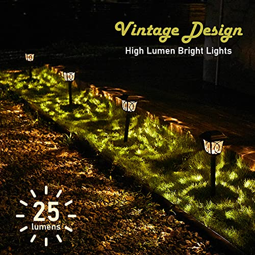 Solar Path Lights 6 Pack Solar Pathway Lights Solar Powered Reddish Brown Glass Lampshade Stainless Steel Auto On Off 25 Lumens Waterproof Solar Lights Outdoor Decor For Path Landscape 0 0
