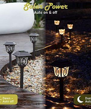 Solar Path Lights 6 Pack Solar Pathway Lights Solar Powered Reddish Brown Glass Lampshade Stainless Steel Auto On Off 25 Lumens Waterproof Solar Lights Outdoor Decor For Path Landscape 0 1 300x360