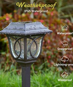 Solar Path Lights 6 Pack Solar Pathway Lights Solar Powered Reddish Brown Glass Lampshade Stainless Steel Auto On Off 25 Lumens Waterproof Solar Lights Outdoor Decor For Path Landscape 0 2 300x360
