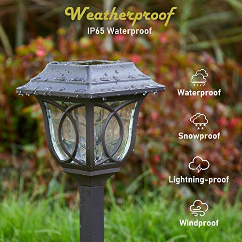 Solar Path Lights 6 Pack Solar Pathway Lights Solar Powered Reddish Brown Glass Lampshade Stainless Steel Auto On Off 25 Lumens Waterproof Solar Lights Outdoor Decor For Path Landscape 0 2