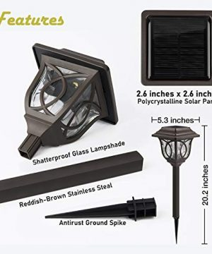 Solar Path Lights 6 Pack Solar Pathway Lights Solar Powered Reddish Brown Glass Lampshade Stainless Steel Auto On Off 25 Lumens Waterproof Solar Lights Outdoor Decor For Path Landscape 0 3 300x360