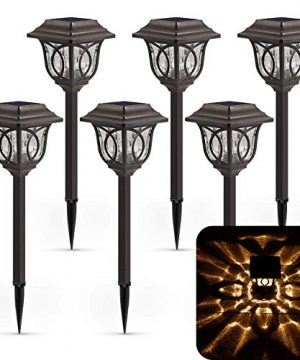 Solar Path Lights 6 Pack Solar Pathway Lights Solar Powered Reddish Brown Glass Lampshade Stainless Steel Auto On Off 25 Lumens Waterproof Solar Lights Outdoor Decor For Path Landscape 0 300x360