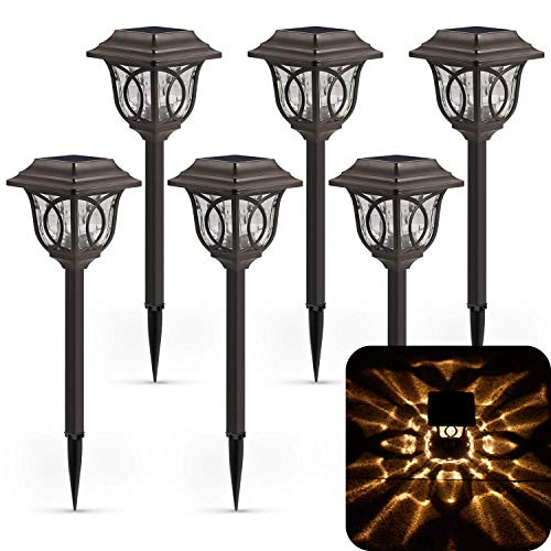 Solar Path Lights 6 Pack Solar Pathway Lights Solar Powered Reddish Brown Glass Lampshade Stainless Steel Auto On Off 25 Lumens Waterproof Solar Lights Outdoor Decor For Path Landscape 0