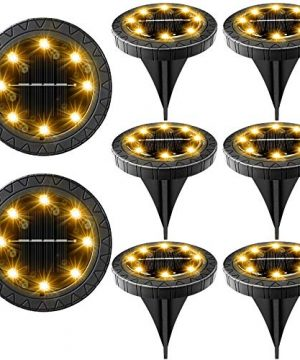 Solar Powered Ground Lights 8 PackIP68 Waterproof Outdoor LED Disk Lights For GardenNon Slip Landscape Path Lighting For Patio Lawn YardPathway Wear Resistant Deck Lights Walkway DecorWarm White 0 300x360
