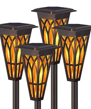 Solar Torch Lights Solar Flame Torch Lights Outdoor 4 Pack 2 Modes Always OnFlickering Flame Matte Lampshade Auto OnOff Pathway Lights Solar Powered Stainless Steel IP65 Waterproof PathBeachYard 0 300x360