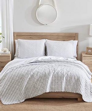 Stone Cottage Willow Way Collection Quilt Set 100 Cotton Reversible Lightweight Breathable Bedding With Matching Shams Pre Washed For Added Softness Queen Grey 0 0 300x360