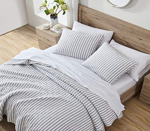 Stone Cottage Willow Way Collection Quilt Set 100 Cotton Reversible Lightweight Breathable Bedding With Matching Shams Pre Washed For Added Softness Queen Grey 0 1