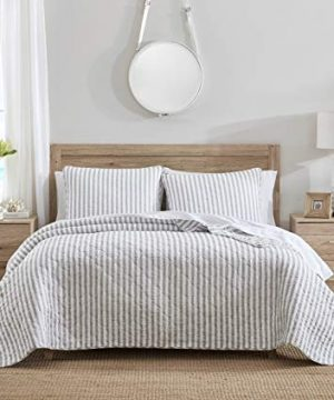 Stone Cottage Willow Way Collection Quilt Set 100 Cotton Reversible Lightweight Breathable Bedding With Matching Shams Pre Washed For Added Softness Queen Grey 0 300x360