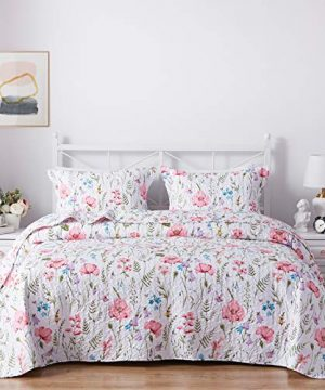 SunStyle Home Quilt Set Twin Size Lightweight Microfiber Soft Coverlet Reversible Quilted Pattern Summer Quilt Bedspreads Comforter Set For All Season 2 Piece Includes 1 Quilt 1 Sham 0 300x360