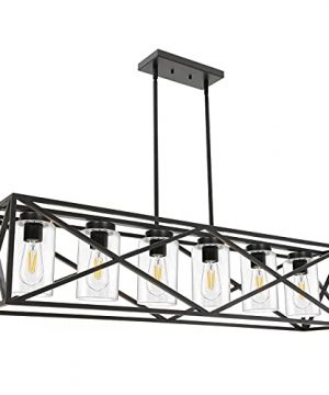 TODOLUZ 6 Lights Farmhouse Chandelier Black Dining Room Light Fixtures 4528 Contemporary Rectangle Kitchen Island Lighting With Clear Glass Shade 0 300x360